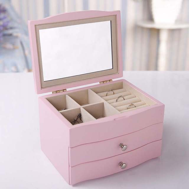 Online Shop Wooden Jewelry Box With Mirror Three Floors Make Up Box