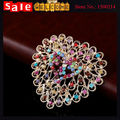 Роскошный Позолоченный Полный Кристалл Сердце Красочный Большой Брошь Сплав Горный Хрусталь Шарф Клип Свадьба Букет Броши Pin