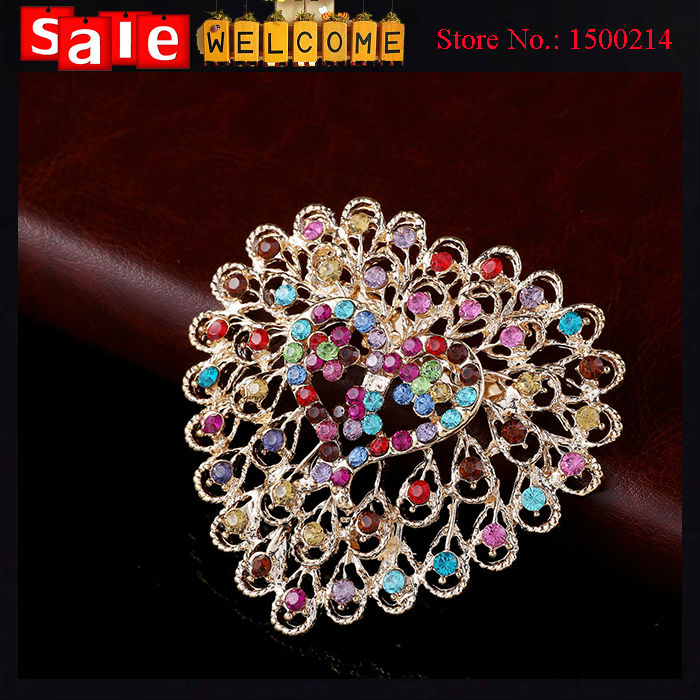 Luxury 18k Gold Plated Full Crystal Heart Colorful Big Brooch Alloy Rhinestone Scarf Clip Wedding Party Bouquet Brooches Pin