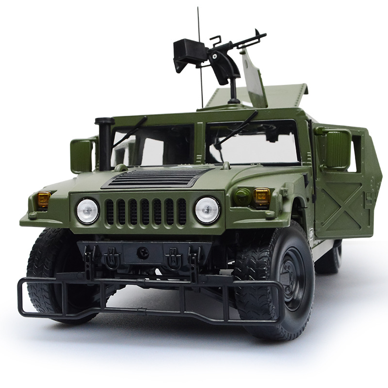 Cedway Military Alloy Model Hummer Off-road Vehicle Model Decoration Of Children's Sports Car Pull Back Flashing Sound Kid's Toy