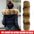 TOP Qualidade Mulheres Jaqueta de Inverno 2016 de Pele De Guaxinim Grande Pele Real gola Com Capuz Grosso Para Baixo Casaco Para As Mulheres casaco de Inverno Parka feminino
