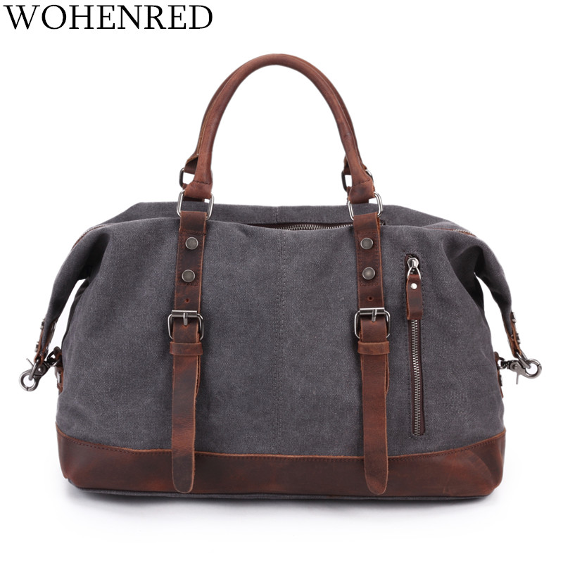 Men's Travel Bags Vintage Leather Canvas Carry on Luggage Bags Big Men Duffel Bags Travel Tote Large Weekend Bag Overnight-in Travel Bags from Luggage & Bags    2