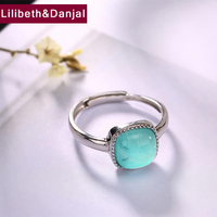 2019 New Adjustable Ring 100% Real 925 Sterling Silver fine Jewelry Women Mosaic Amazonite Square Opening Wedding LOVE Ring YR6
