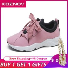 Koznoy Sneakers Women Korean Version Leisure Students Dropshipping Fashion Increased Breathable Lace Flat Bottom Shoes