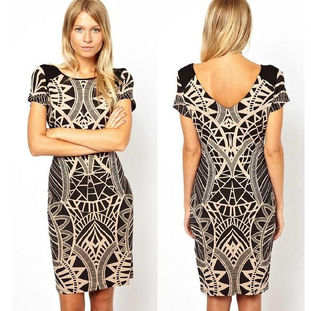 680feb7a02 b139 Sale Short Sleeve Vintage Geometric Patterns Print Dresses New 2013  Casual Printed Women Dress Vestidos