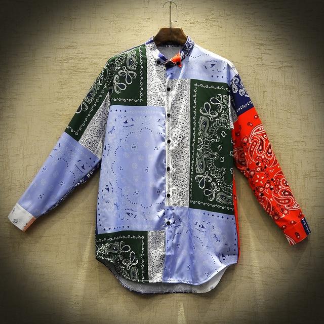 Men's Casual Shirt Summer Shirts Hawaiian Shirts National Tide Fashion Camisa Masculina Hip Hop Loose Printed Long Sleeve Men