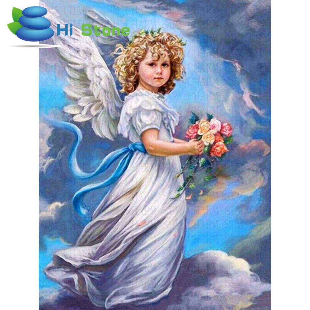 5d diy алмаз наборы для вышивания крестиком полный квадратный алмазов картина ангел с цветами мозаика живопись подарок украшения