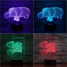 Animal hippo 3D Lamp Touch Sensor 7 Color Changing Decorative Lamp Child Kids Baby Kit Nightlight river horse Led Night Light