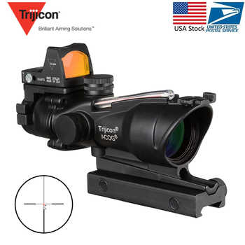 Acog 4x32 Red Fiber Source Real Fiber Scope W/ Rmr Micro Red Dot Sight Marked Version Black Riser Optical Instrument - DISCOUNT ITEM  44% OFF All Category