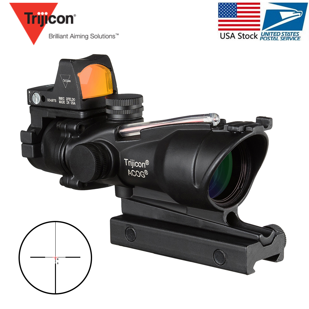 Acog 4x32 fibre rouge Source vraie Fiber portée W/Rmr Micro point rouge vue marqué Version noir Riser Instrument optique