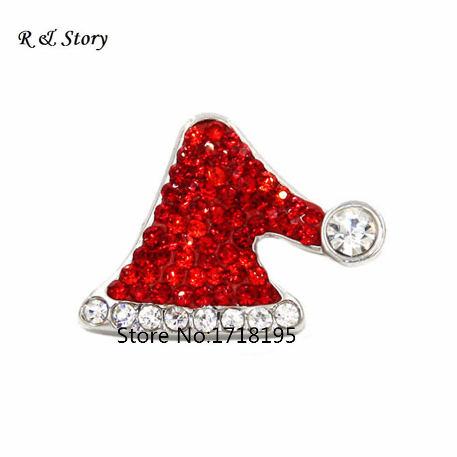 Snap Jewelry Button For Bracelet Necklace Fashion DIY Jewelry Crystal Santas Hat Christmas Collection Snaps New 2018