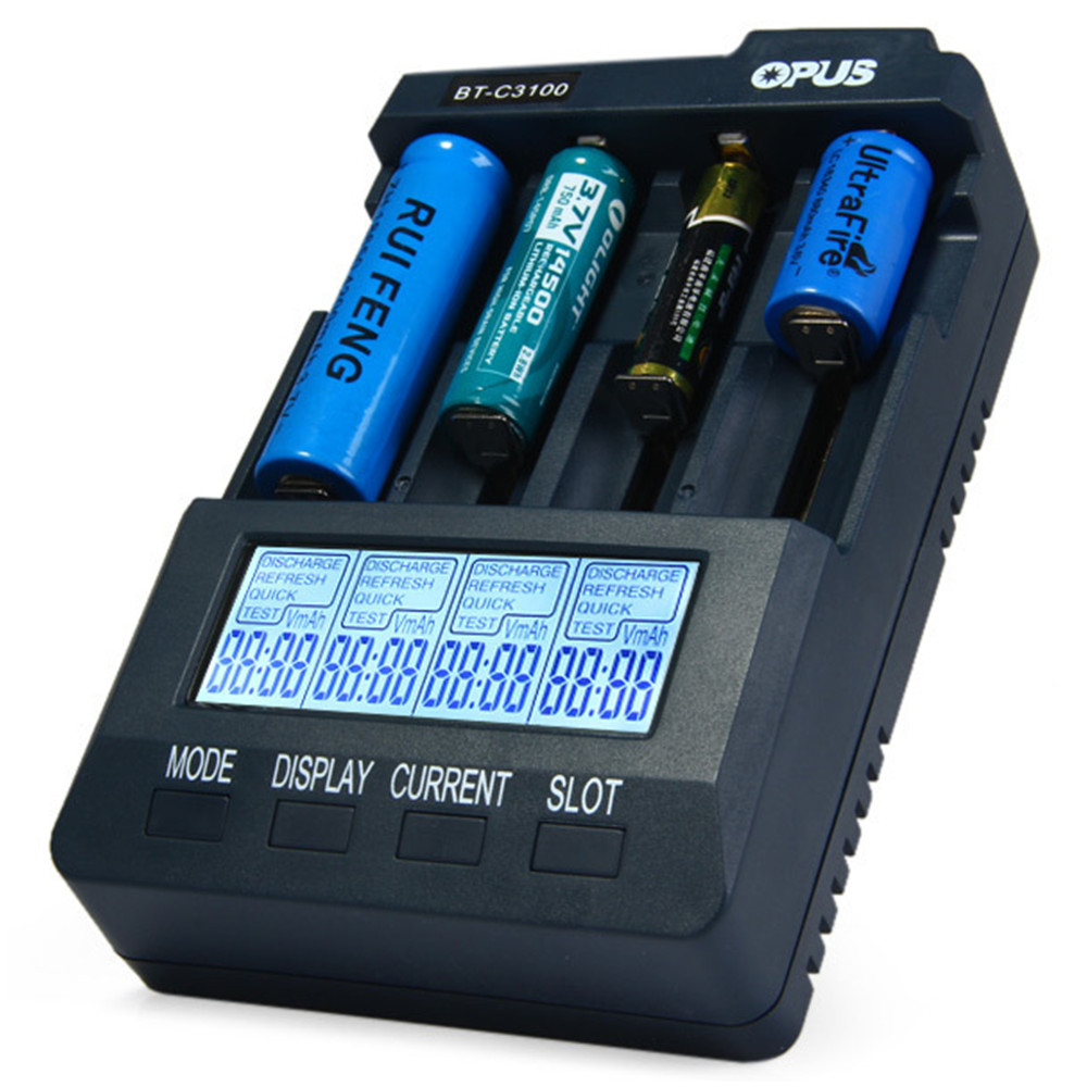 Opus BT-C3100 V2.2 Inteligente LCD Universal LI-ion NiCd NiMh AA AAA 10440 14500 16340 17335 17500 18490 17670 18650 Bateria carregador