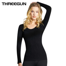 THREEGUN Women Solid Warm Thermal Underwear Tops Female Slim Sexy Body Shaping Low Collar Single Sleeved Top Sexy Blusa Termica(China)