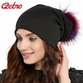 Geebro бренд для женщин шапка-бини в стиле кежуал хлопок помпоном шапочки шапки енота лисий мех помпон Skullies шапки-балаклавы для JS294