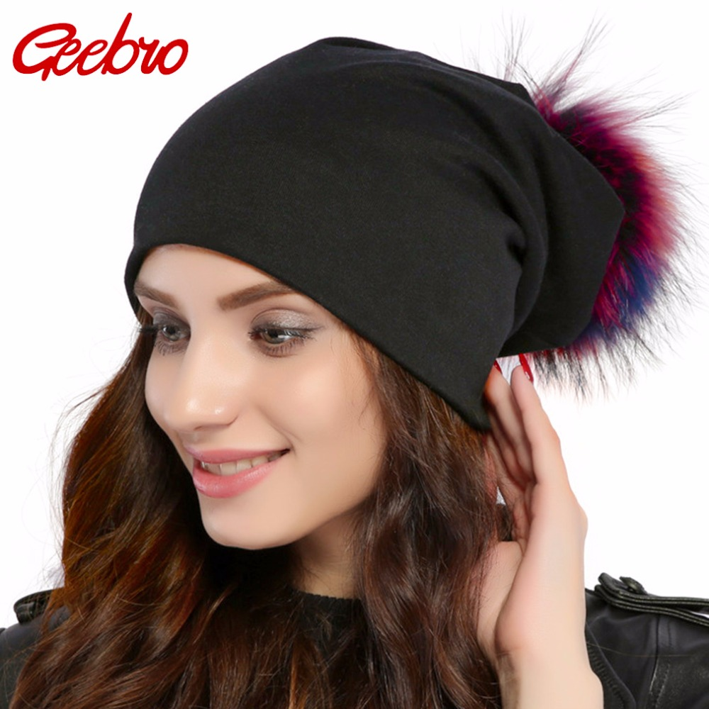 Geebro Brand Women's Beanie Hat Casual Cotton Pompom Beanies Hats Raccoon Fox Fur Pompon Skullies Balaclava Caps For Women JS294