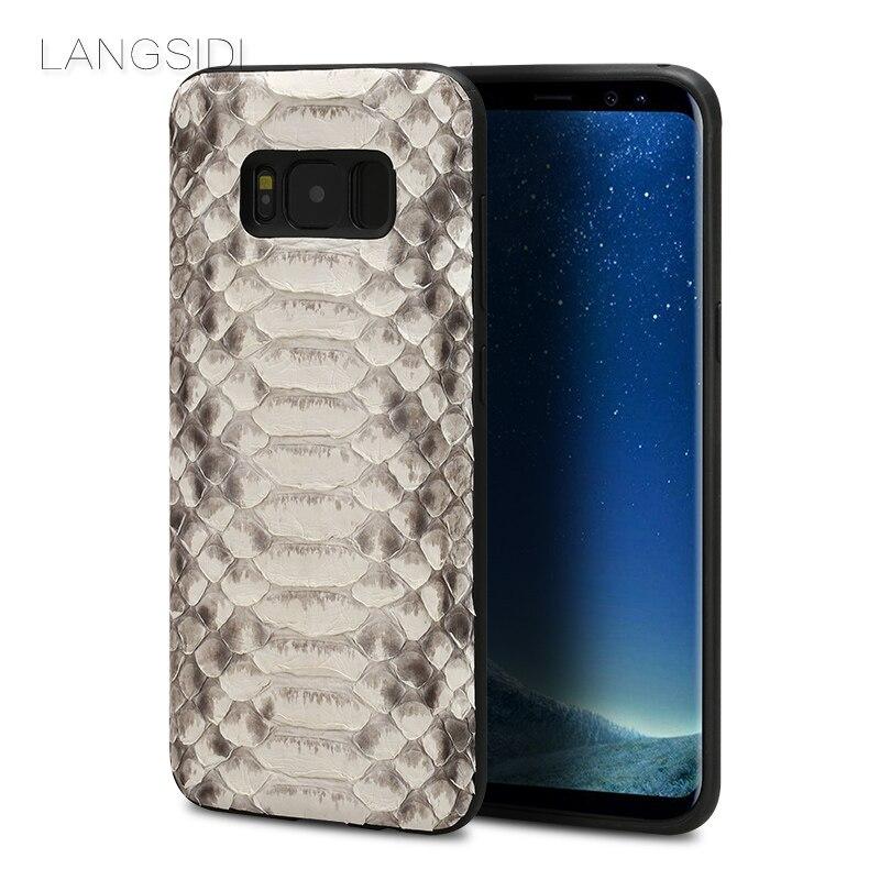 Wangcangli cellulaire coque de téléphone python naturel housse de téléphone étui pour samsung Galaxy S8 couverture de téléphone cellulaire tous faits à la main personnalisé