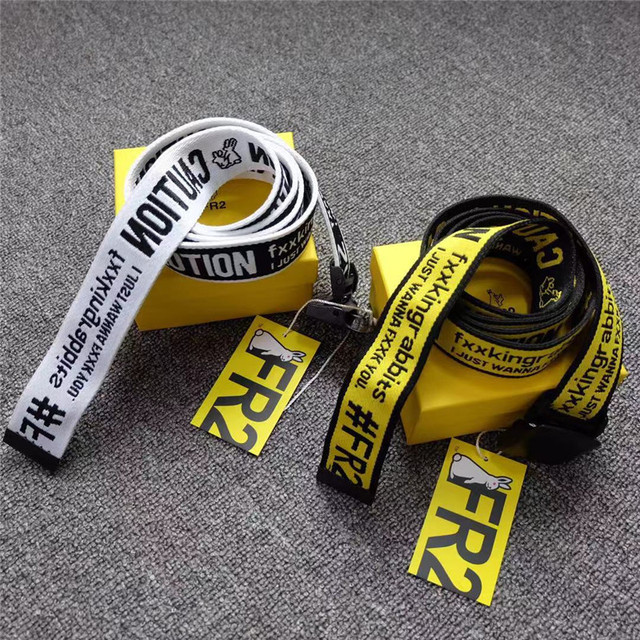 FR2 FXXKING RABBITS Belts 137cm Men Women Personality #FR2 Canvas Belt No Box RABBITS Caution Logo