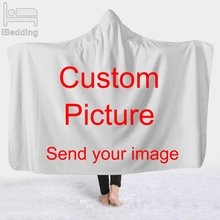 Customize Dropshipping 3D Printed Plush Hooded Blanket for Adults Kid Warm  Wearable Fleece Custom Throw Blankets