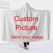 ปรับแต่งDropshipping 3Dพิมพ์Plush Hoodedผ้าห่มสำหรับผู้ใหญ่เด็กWarm Wearableขนแกะที่กำหนดเองโยนผ้าห่ม