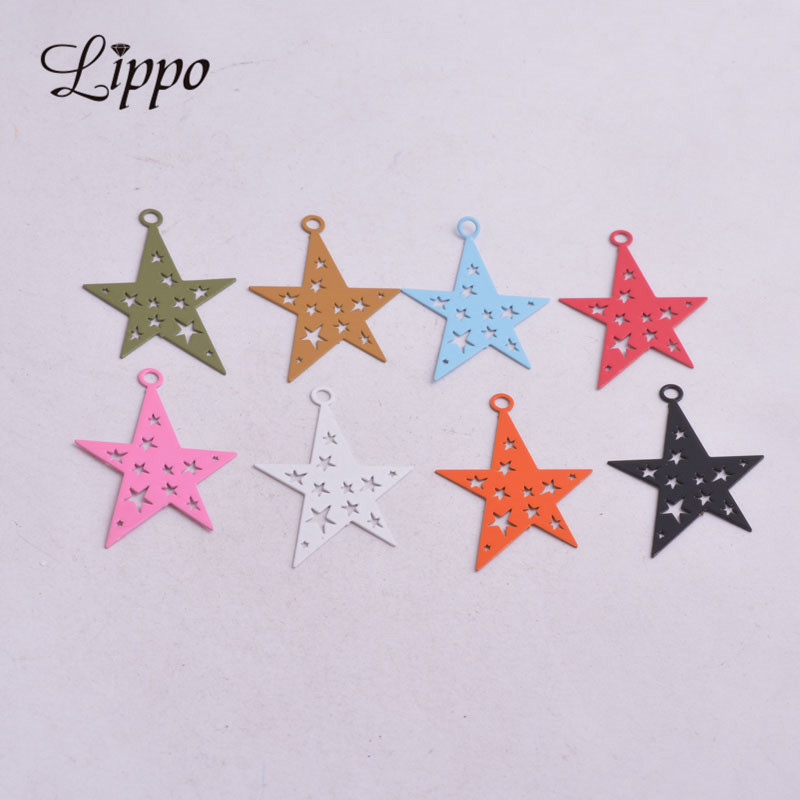 50pcs AC8936 23*32mm Candy Color Brass Painted Stars Charms Black Pink Red Silver Color Star Pendants DIY Earrings Findings