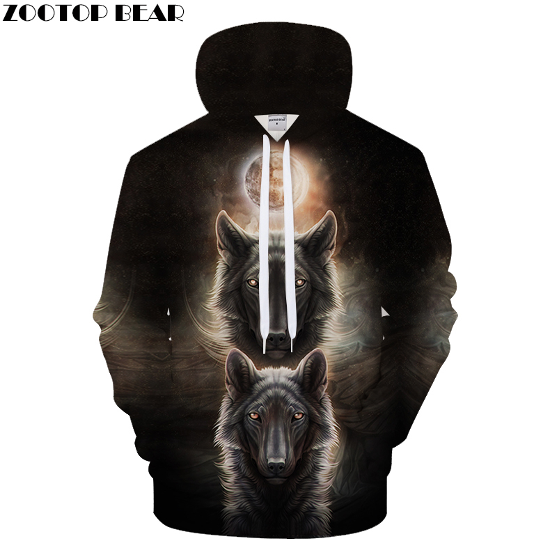 Moon Light Hoodies Men Wolf Hoody Anime Sweatshirt Autumn Pullover 3D Tracksuit Male Coat Hip Hop Unisex Drop ship ZOOTOPBEAR