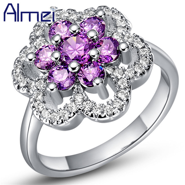 Big Women Accessories Ring Fashion Crystal Silver Color Flower Ring CZ Zircon Engagement Anel Korean Charming Gifts Almei J491