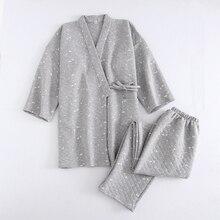 Пижама для мужчин, Осень зима 2018, плотная Хлопковая пижама кимоно