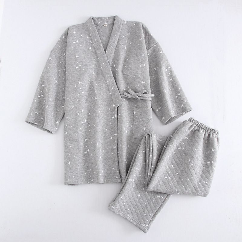 Pajamas For Men 2018 Autumn Winter Thick Cotton Pyjamas Kimono Pajama Sets Sleepwear Quality New Home Clothes Pijama Hombre