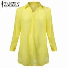Women Casual Loose Long Chiffon Shirts 2018 Spring Long Sleeve Turn Down Collar Sexy Blouses Tops Plus Size Mini Dress Vestidos