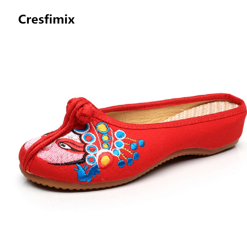 Cresfimix women cute indoor slipper female spring and summer slip on slides female comfortable canvas plus size slippers cresfimix women cute spring