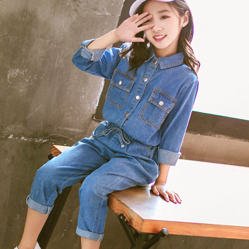 Teenage Girls Denim Suit Spring and Autumn Children Clothing Set Girls Long Sleeve Denim Tops And Jeans Pants Kids Clothes Sets he hello enjoy girls clothes dress spring autumn kids dresses for girls long sleeve denim shirt bow suits children clothing set