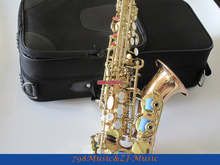 Curved Soprano Saxophone Bb key to High F key and G Key Phosphor Bronze Copper Body and Gold Lacquer Keys
