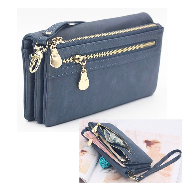 Universal Multifunction Women Wallet PU Leather Phone Bag Case For iPhone Samsung Remi OPPO ViVO Huawei Female Double Zipper Bag