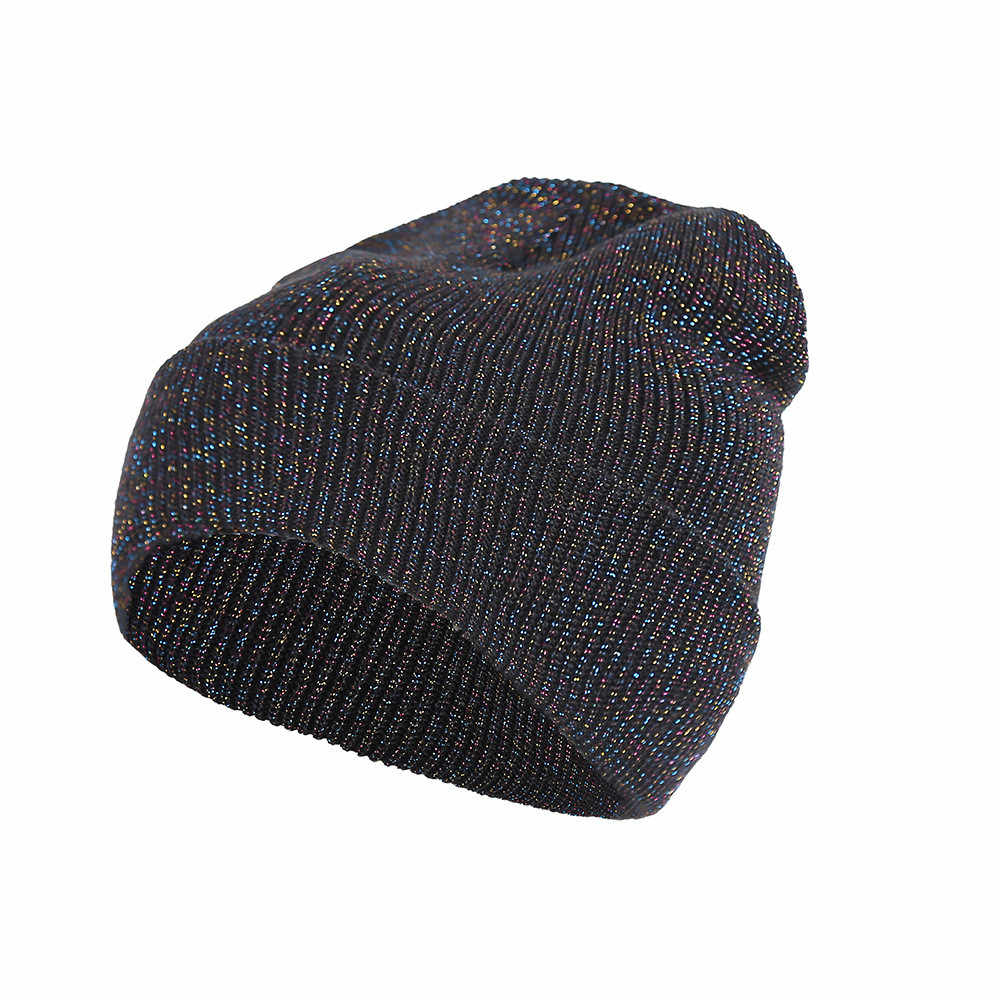 4b4d57bb10ecd4 Fashion Silver starry sky print Hat Men Women Baggy Warm Crochet Winter  Wool Knit Hat Ski