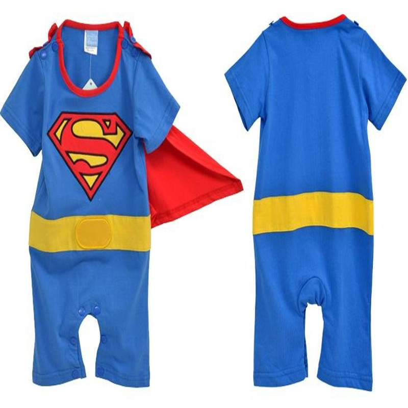 Goldbuddy 4 jogos / lote Moda Super Girl Batman Superman Romper Do Bebê com Vestido Smock Infantil Manto Traje