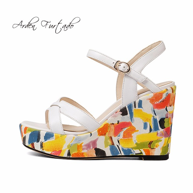 02b337655b83 summer casual sandals platform shoes for woman printing color Bohemia high  heels ethnic style oxford girls women genuine leather