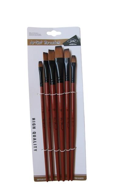Nylon Peinture à L'huile Brosse Ronde Filbert Ange Plat Acrylique Apprentissage Diy Aquarelle Stylo pour Artistes Peintres Débutants, 6 pinceaux 6