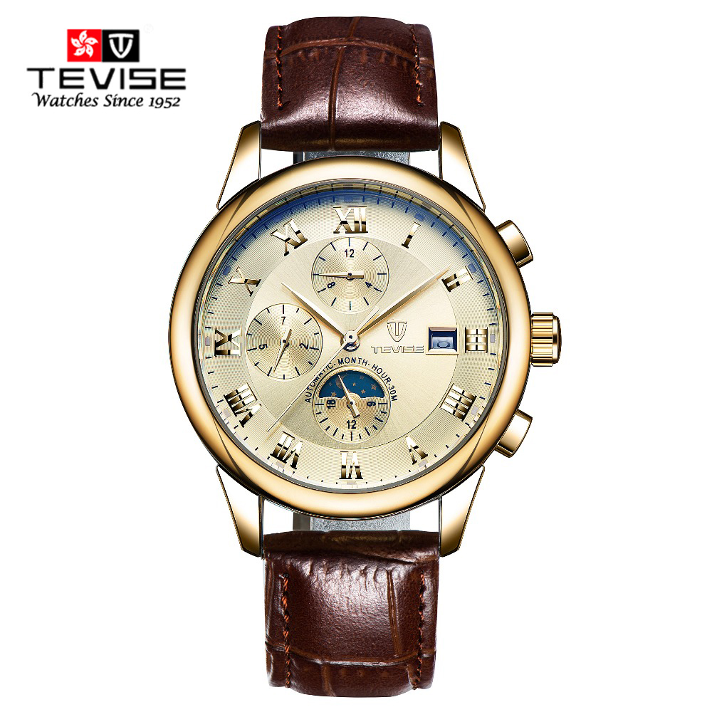TEVISE Brand men male military clock automatic Leather mechanical Watch self wind High Quality luxury Moon Phase Montre Homme цена