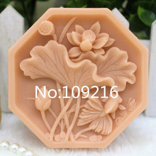New Product!!1pcs Lotus (zx317) Food Grade Silicone Handmade Soap Mold Crafts DIY Mould