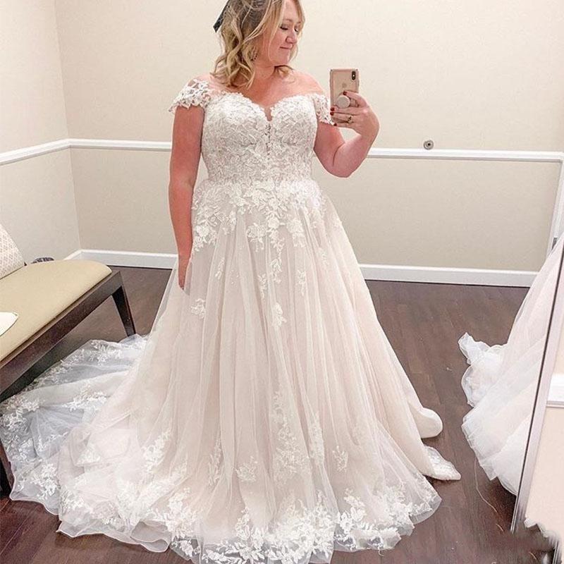 Image 2 - A Line Wedding Dresses Vestido De Noiva 2019 Off the Shoulder Lace Appliques Bridal Gowns Plus Size Elegant Robe De Mariee-in Wedding Dresses from Weddings & Events