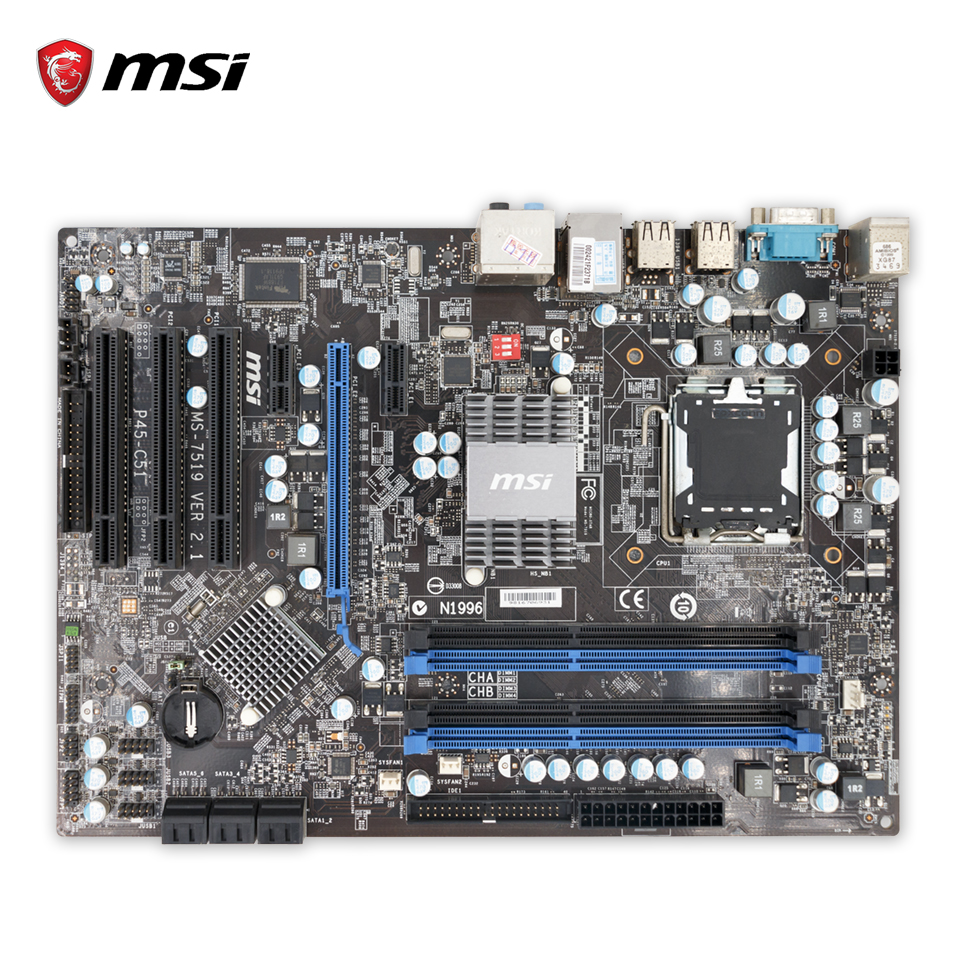Original MSI P45-C51 Desktop Motherboard P45 Socket LGA 775 DDR3 8G SATA2 ATX 100% Fully Test original msi g41m4 l desktop motherboard g41 socket lga 775 ddr2 8g sata2 usb2 0 micro atx 100% fully test