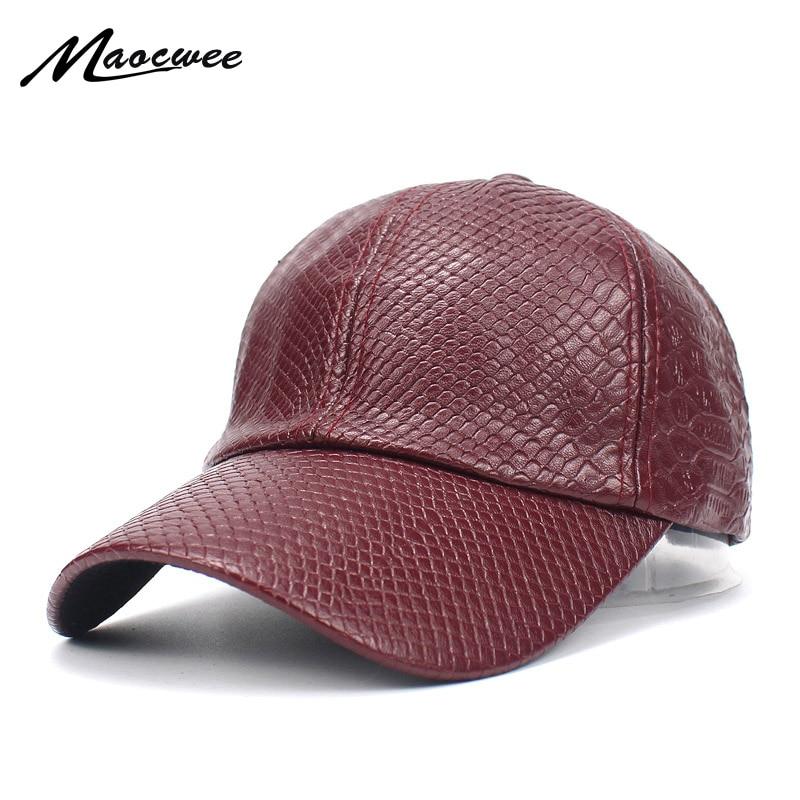Moda cuero pu gorra de béisbol hombres SnapBack gorras casquette hueso marca  invierno sombreros para hombres gorras plana macho huesos 29abeedee47