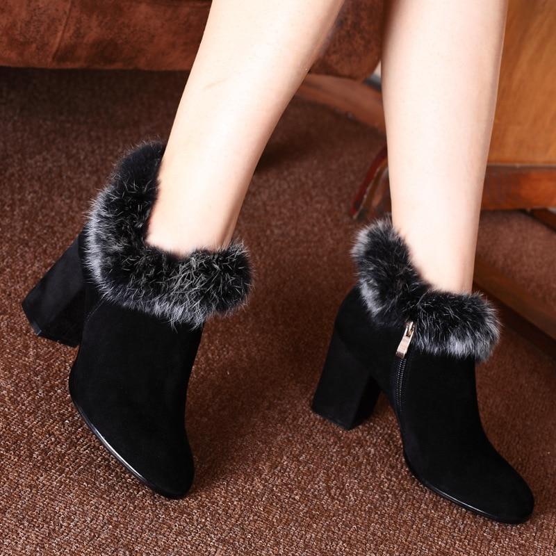 Women Winter Thick High Heel Genuine Leather Rabbit Fur Red Bottom Side Zipper Fashion Ankle Snow Boots Size 34-39 SXQ0826 women winter genuine leather thick high heel side zipper round toe fashion mid half boots plus size 34 45 sxq1007
