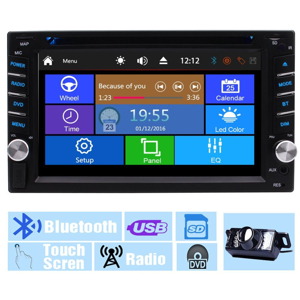 Back Camera+EinCar Multi-Touch Screen Audio Autoradio Monitor 2 Din In Dash DVD Player USB SD Radio Receiver Headunit Car Stereo double 2 din car autoradio stereo headunit 6 2 multi touch capacitive screen car dvd cd player mp3 mp4 usb tf bluetooth aux