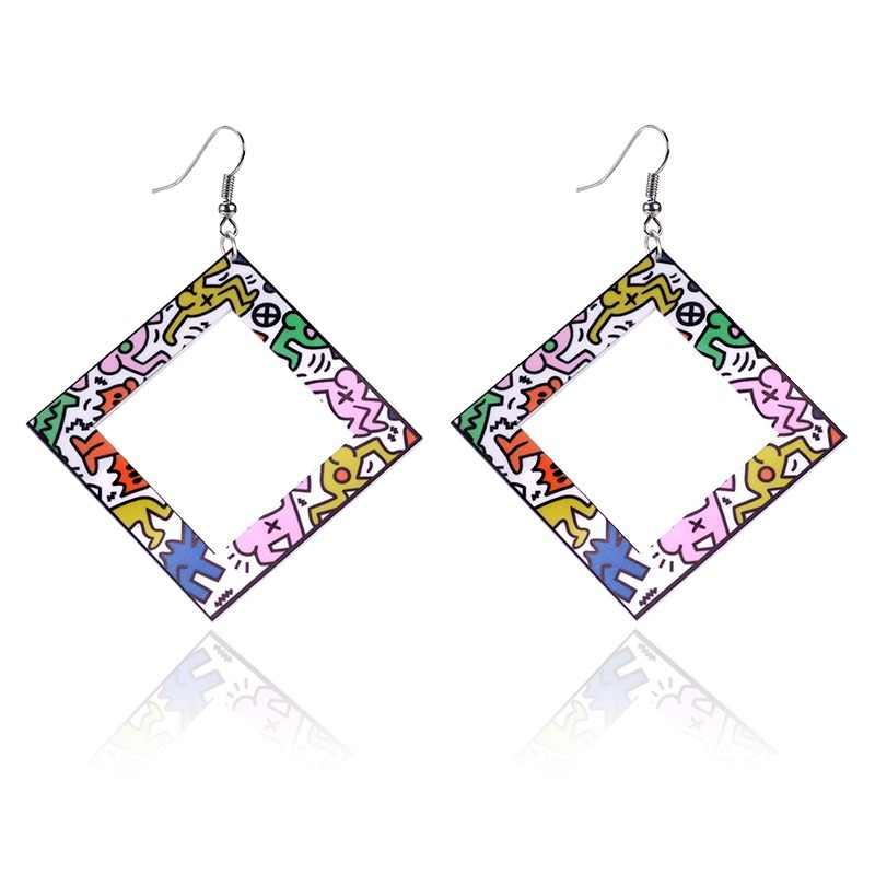 Night Club Geometric Design Print Dangle Acrylic Earring Large Square Big Earrings for Women Pendientes Grandes Mujer Brinco