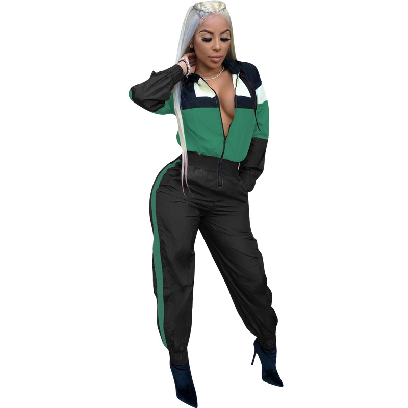 Sexy Patchwork Tracksuit Rompers Women Hooded   Jumpsuit   Long Sleeve Pockets Zipper Striped Print Slim Overalls Combinaison Femme