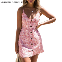 Summer Dress 2018 Sexy Women Floral Print Spaghetti Strap Backless A Line Boho Dress Beach Bohemian
