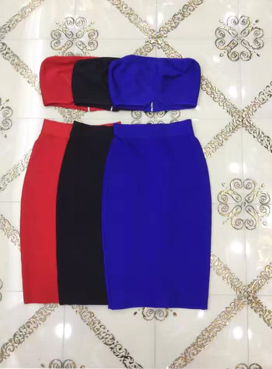 3 Colors Top Quality Strapless Black Red Blue 2 Pieces Set Rayon Bandage Dress Sexy Party Dress