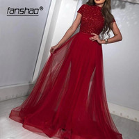 Fanshao Red Evening Dresses Heavy Sequin Short Sleeves High Neck Fashion Dress Dubai Saudi Arabic Special Occasion Prom Gowns