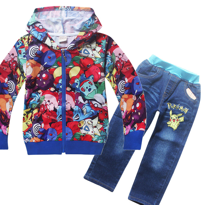Pokemon Girls hoodies & jean Sets Spring autumn Cartoon Cotton Clothes sport suit For Girls Long Sleeve Shirt Pants Kids Clothes kids clothes sets wholesale spring and autumn boys sports leisure suit t shirt hoodie long pants free shipping in stock